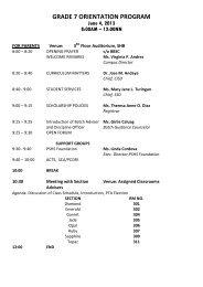 GRADE 7 ORIENTATION PROGRAM - PSHS Main Campus