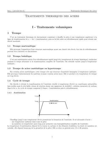 Traitements thermiques des aciers I - Traitements volumiques - Free