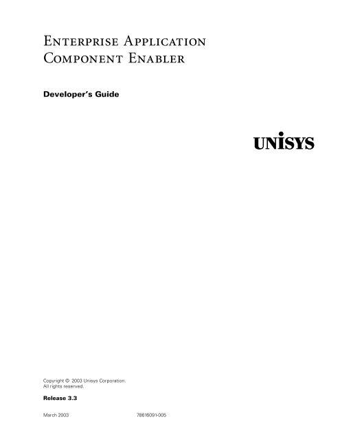 Enterprise Application Component Enabler's Developer Guide