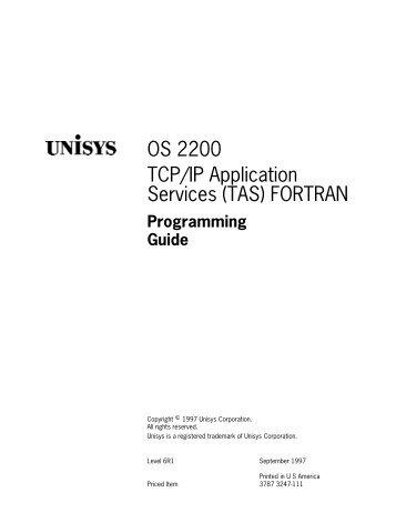TCP/IP App. Services (TAS) FORTRAN Programming Guide