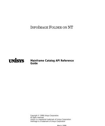 MF Catalog API Reference Guide - Public Support Login - Unisys