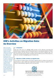 IOM's Activities on Migration Data: An Overview - IOM Publications