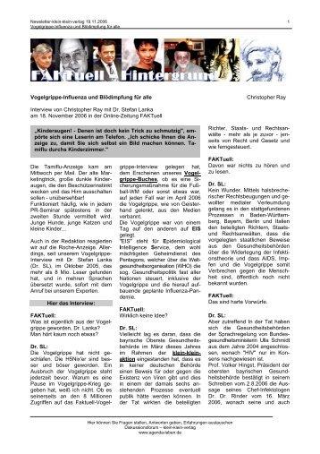 Vogelgrippe-Influenza und Blödimpfung für alle Christopher ... - Pulsar