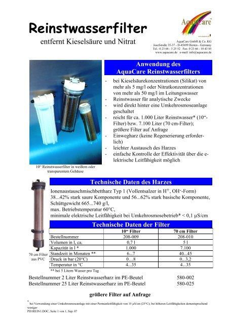 Reinstwasserfilter - Aquacare Gmbh & Co. KG