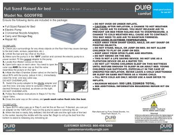 6009FRB Full Size Raised Air Bed - pure global brands, inc.