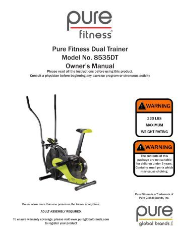 Pure Fitness X-Series Home Trainer Model No. 8533HT Owner