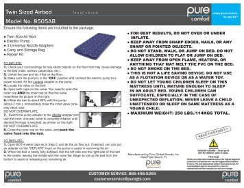 Twin Sized Airbed Model No. 8505AB - pure global brands, inc.