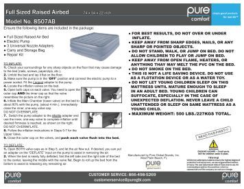 Full Sized Raised Airbed Model No. 8507AB - pure global brands, inc.