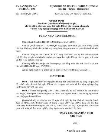 QD 12 2011 tinh QD che do công tác phí và....pdf - Văn bản QPPL ...