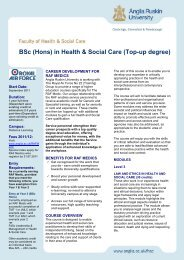 BSc (Hons) in Health & Social Care (Top-up degree) - Royal Air Force