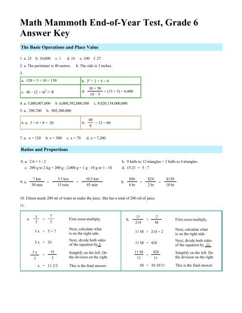 Math Mammoth End-of-Year Test, Grade 6, Answer Key