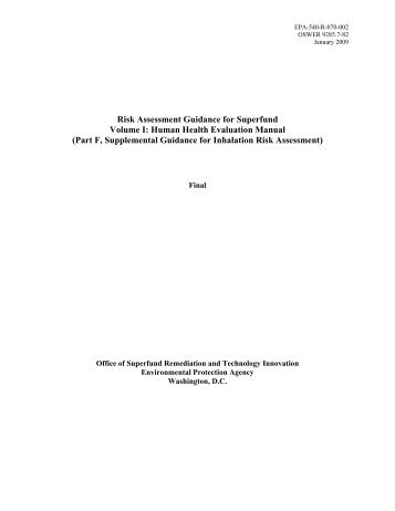 Volume I - Human Health Evaluation Manual - The Risk Assessment ...