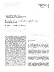 Evaluation of long-term trends in tropical cyclone intensity forecasts