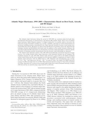 Atlantic Major Hurricanes, 1995–2005—Characteristics Based on ...