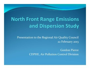 Presentation to the Regional Air Quality Council 22 February 2013 ...