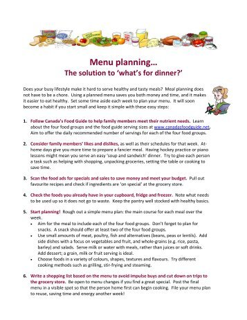 meal planning menu grocery list stanislaus network of care