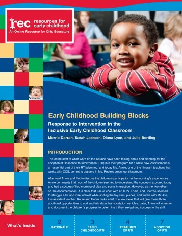 Response to Intervention in the Inclusive Early Childhood Classroom