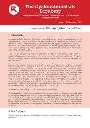 The Dysfunctional UK Economy - The Reid Foundation