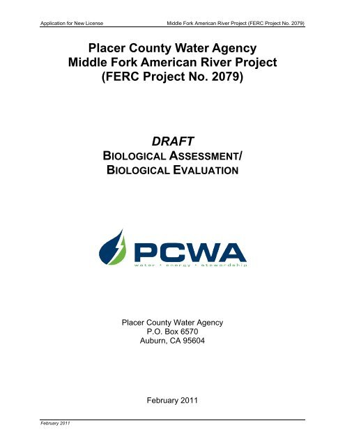 FERC Project No. 2079 - PCWA Middle Fork American River Project ...