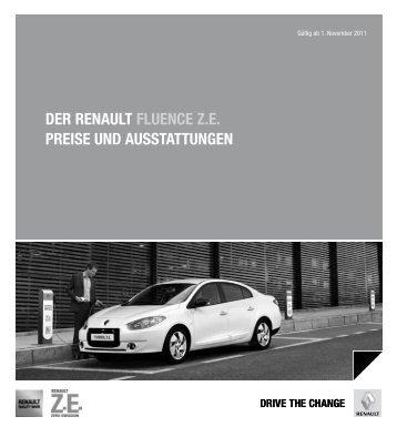 Der renault Fluence Ze Preise unD ausstattungen - Renault Preislisten