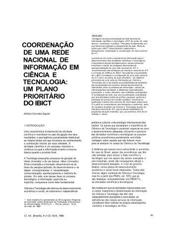 coordenação de uma rede nacional de informação em ciência ... - Ibict