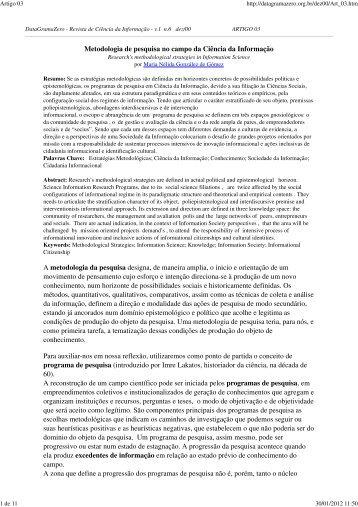 Metodologia de pesquisa no campo da Ciência da Informação ... - Ibict