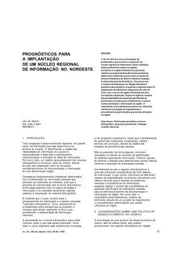 prognósticos para a implantação de um núcleo regional de ...