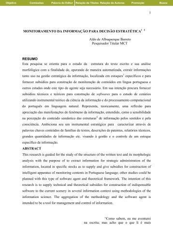 Monitoramento da Informação para Decisão Estratética - Ibict