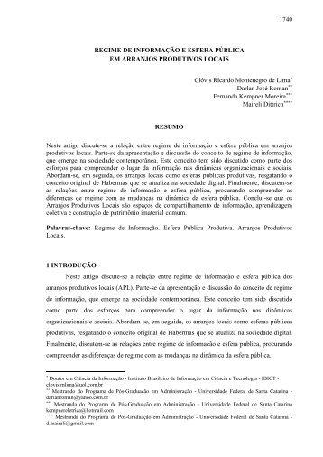 1740 REGIME DE INFORMAÇÃO E ESFERA PÚBLICA EM ... - Ibict