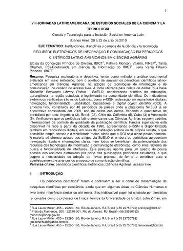 VIII JORNADAS LATINOAMERICANA DE ESTUDIOS ... - Ibict