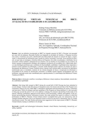 bibliotecas virtuais temáticas do ibict - RI UFBA - Universidade ...