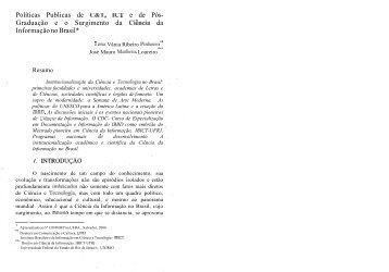 Graduação eo Surgimento da Ciência da Informação no Brasil - Ibict