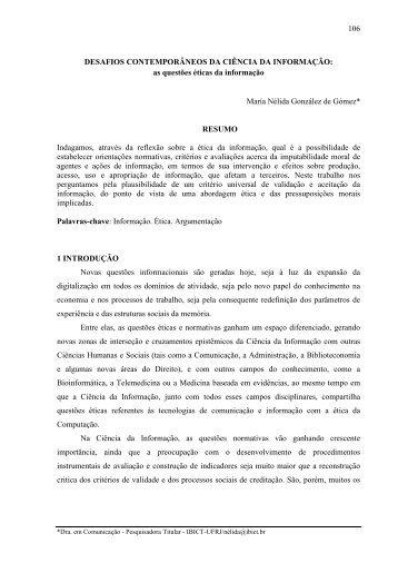 as questões éticas da informação María Nélida González de ... - Ibict