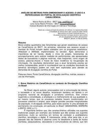 ANÁLISE DE METRIAS PARA DIMENSIONAR O ACESSO, O ... - Ibict