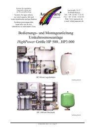 Bedienungs- und Montageanleitung ... - Aquacare Gmbh & Co. KG