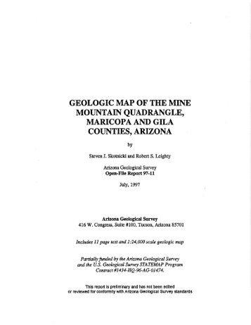Geologic Map of the Mine Mountain Quadrangle, Maricopa and Gila ...