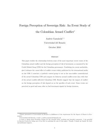 Foreign Perception of Sovereign Risk: An Event Study of the ...