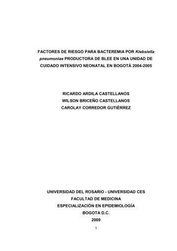 FACTORES DE RIESGO PARA BACTEREMIA POR Klebsiella ...
