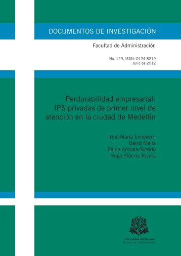 Perdurabilidad empresarial: IPS privadas de primer nivel de ...
