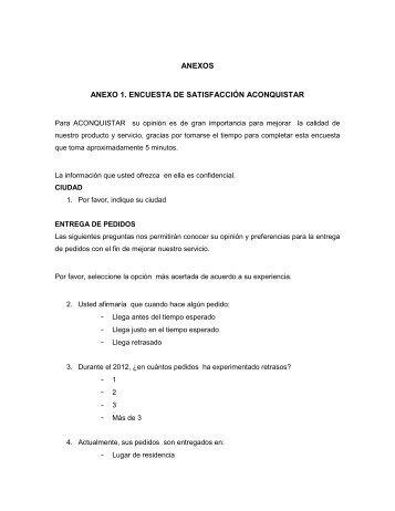 ANEXOS ANEXO 1. ENCUESTA DE SATISFACCIÓN ACONQUISTAR
