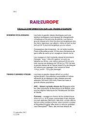FEUILLE D'INFORMATION SUR LES TRAINS D'EUROPE