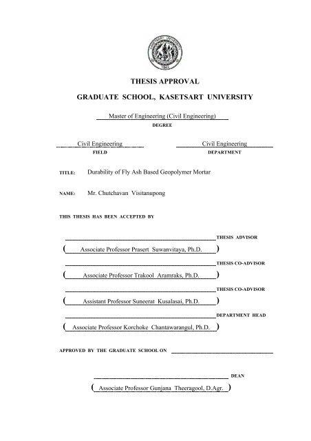 thesis approval graduate school, kasetsart university