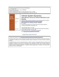 Vehicle System Dynamics - Institute of Sound and Vibration ...