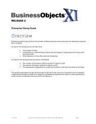 Business Objects XIR2 Sizing Guide - SAP Developer Network