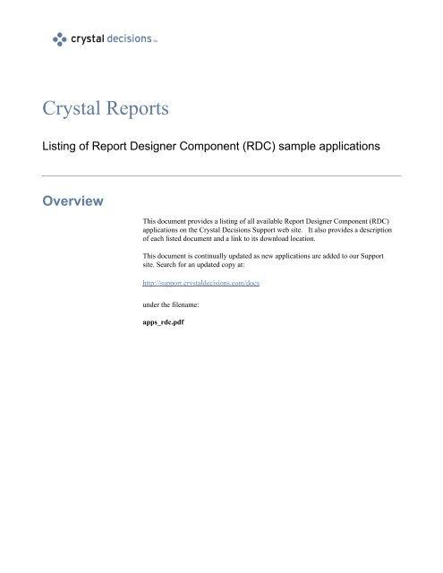 Listing of Report Designer Component (RDC) sample applications
