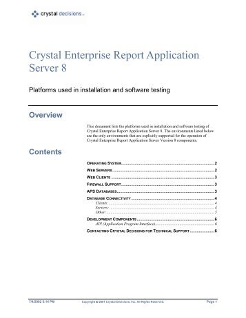Crystal Enterprise Report Application Server 8