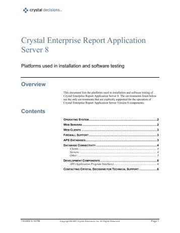 Crystal Enterprise Report Application Server 8