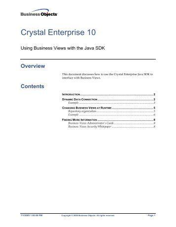 Crystal Enterprise 10 - SAP Developer Network
