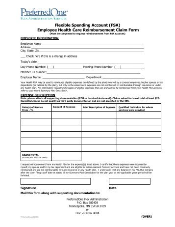 Dependent Care Flexible Spending Account Claim Form