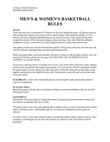 men's & women's basketball rules - The College of St. Scholastica